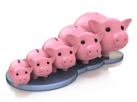 Rates Symbolized by piggy banks.