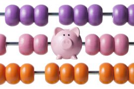 Calculate savings. Abacus with piggy bank.